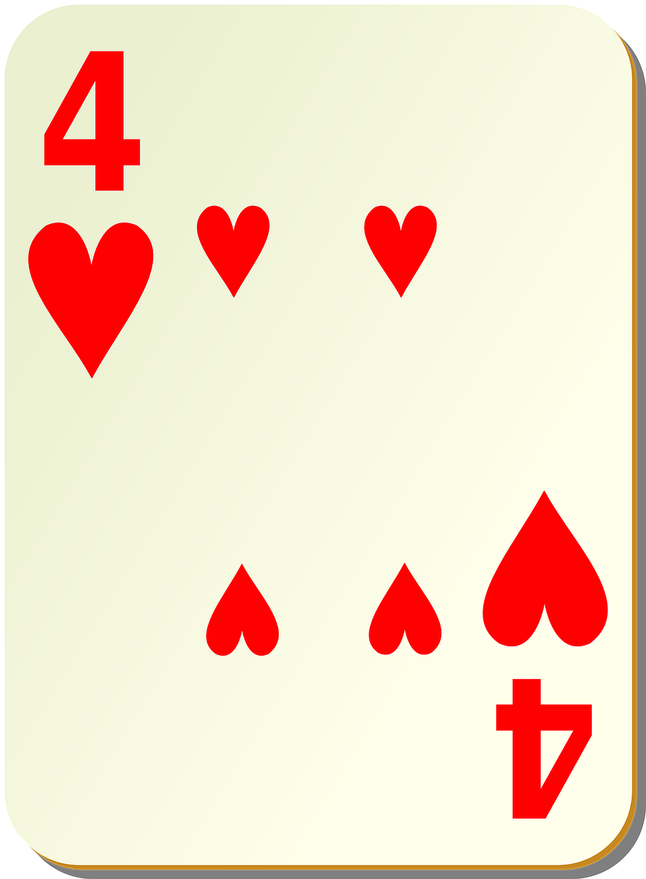 hearts playing cards four free photo