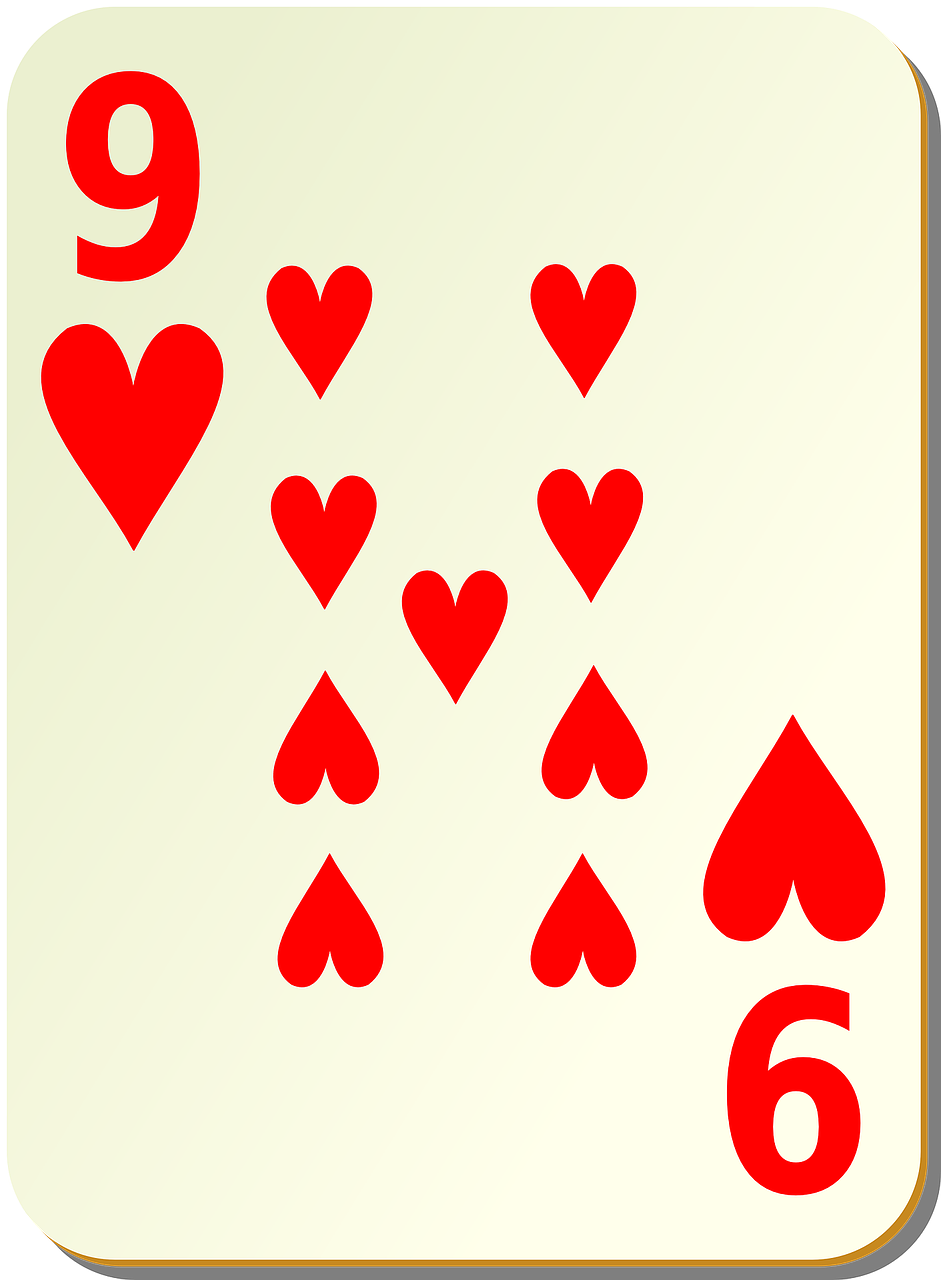 hearts playing cards nine free photo