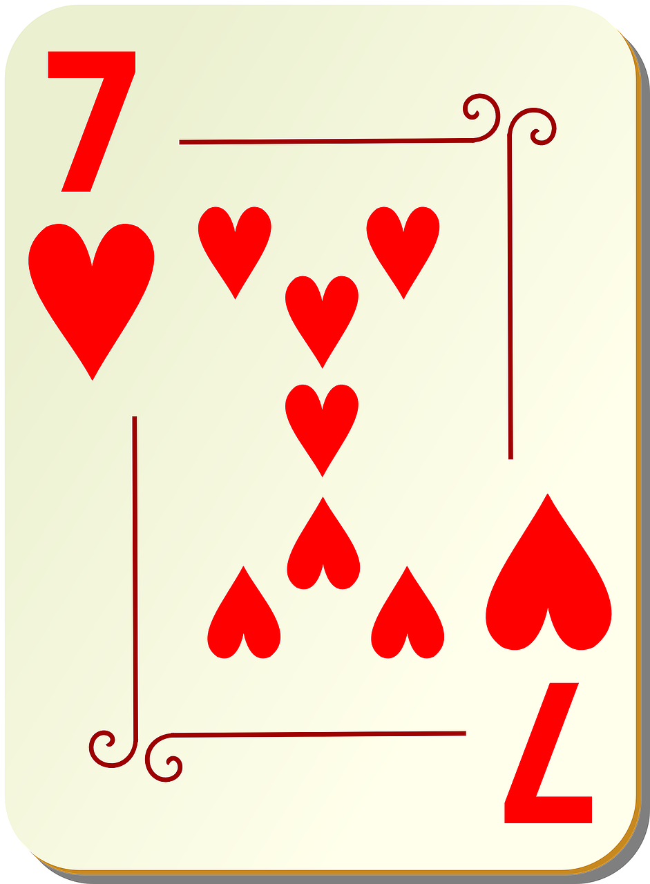 hearts seven playing cards free photo