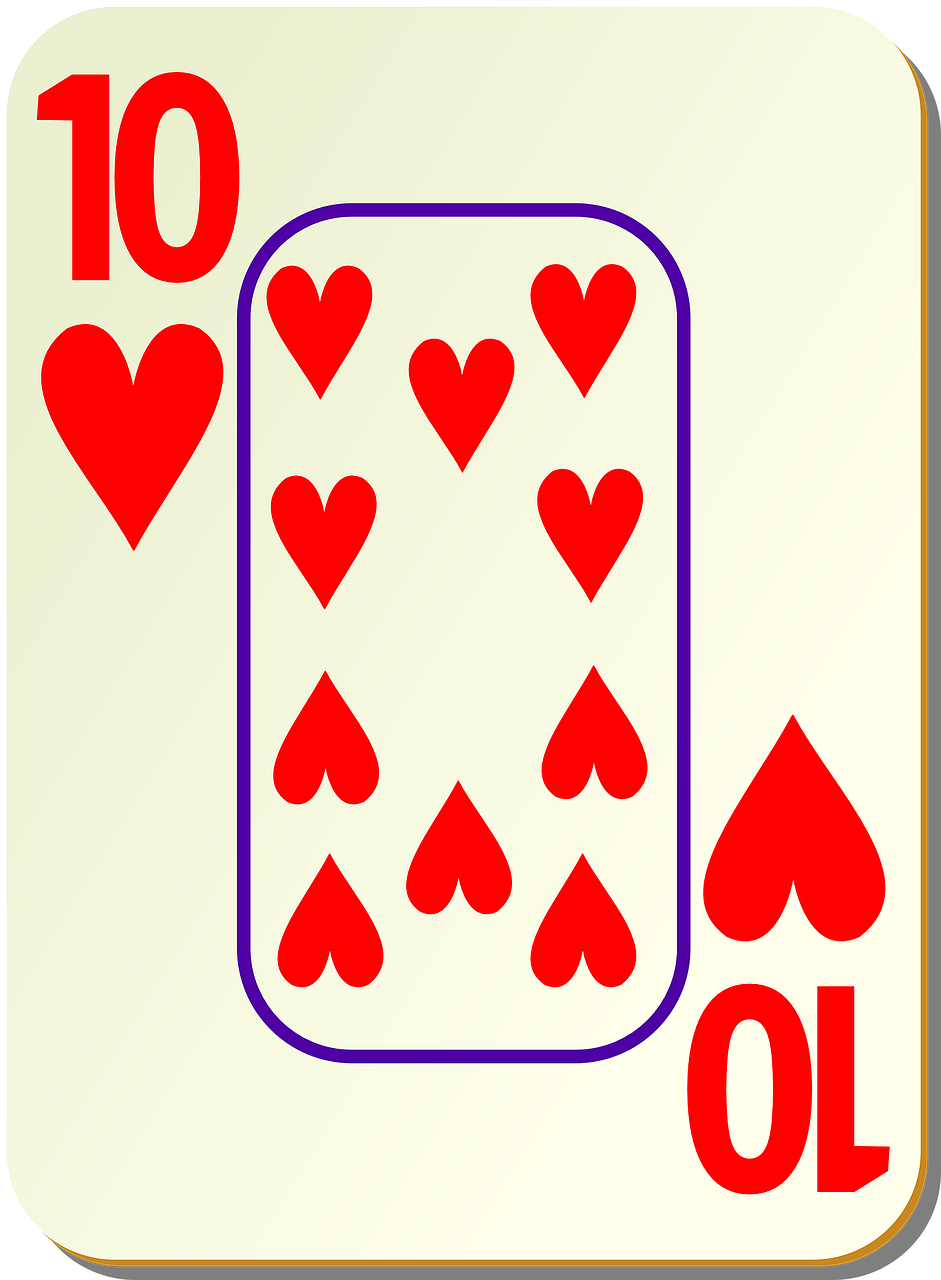 hearts playing cards ten free photo