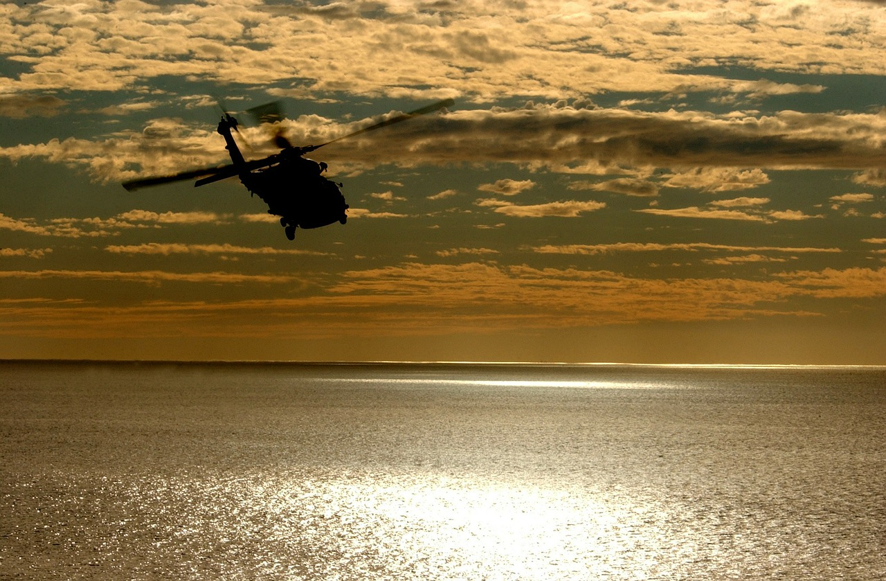 helicopter aircraft sunset free photo