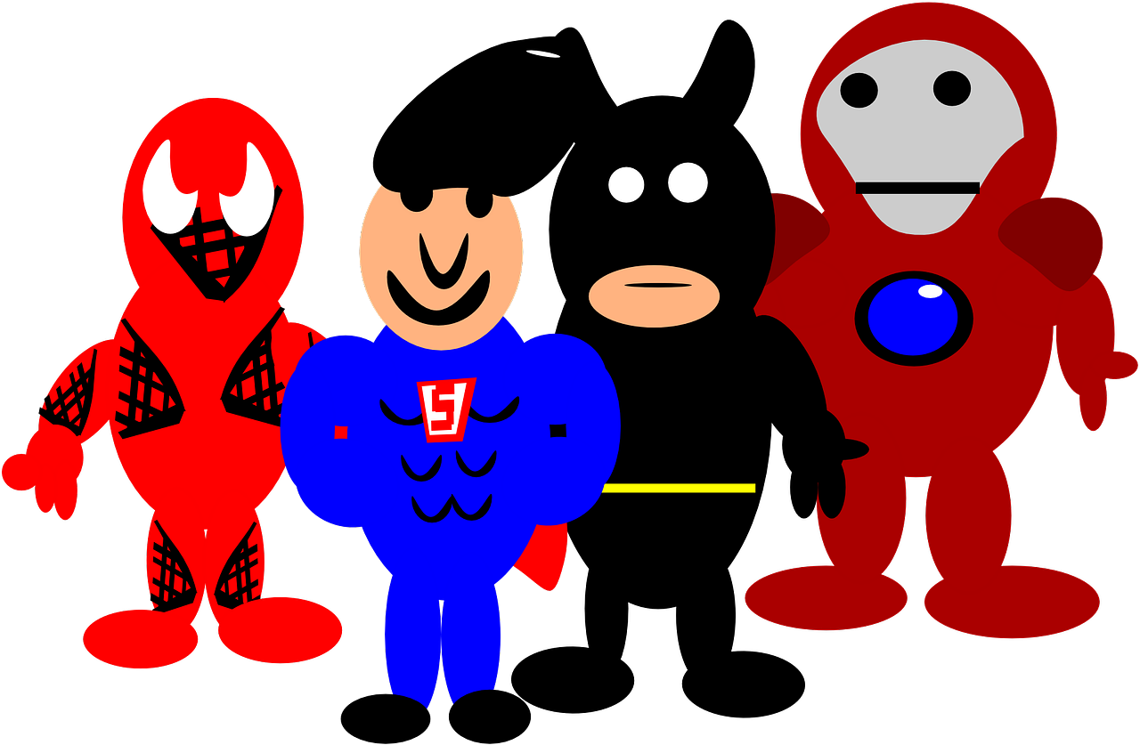 heroes,comic,cartoon,spider-man,batman,superman,iron man,free vector graphics,free pictures, free photos, free images, royalty free, free illustrations, public domain