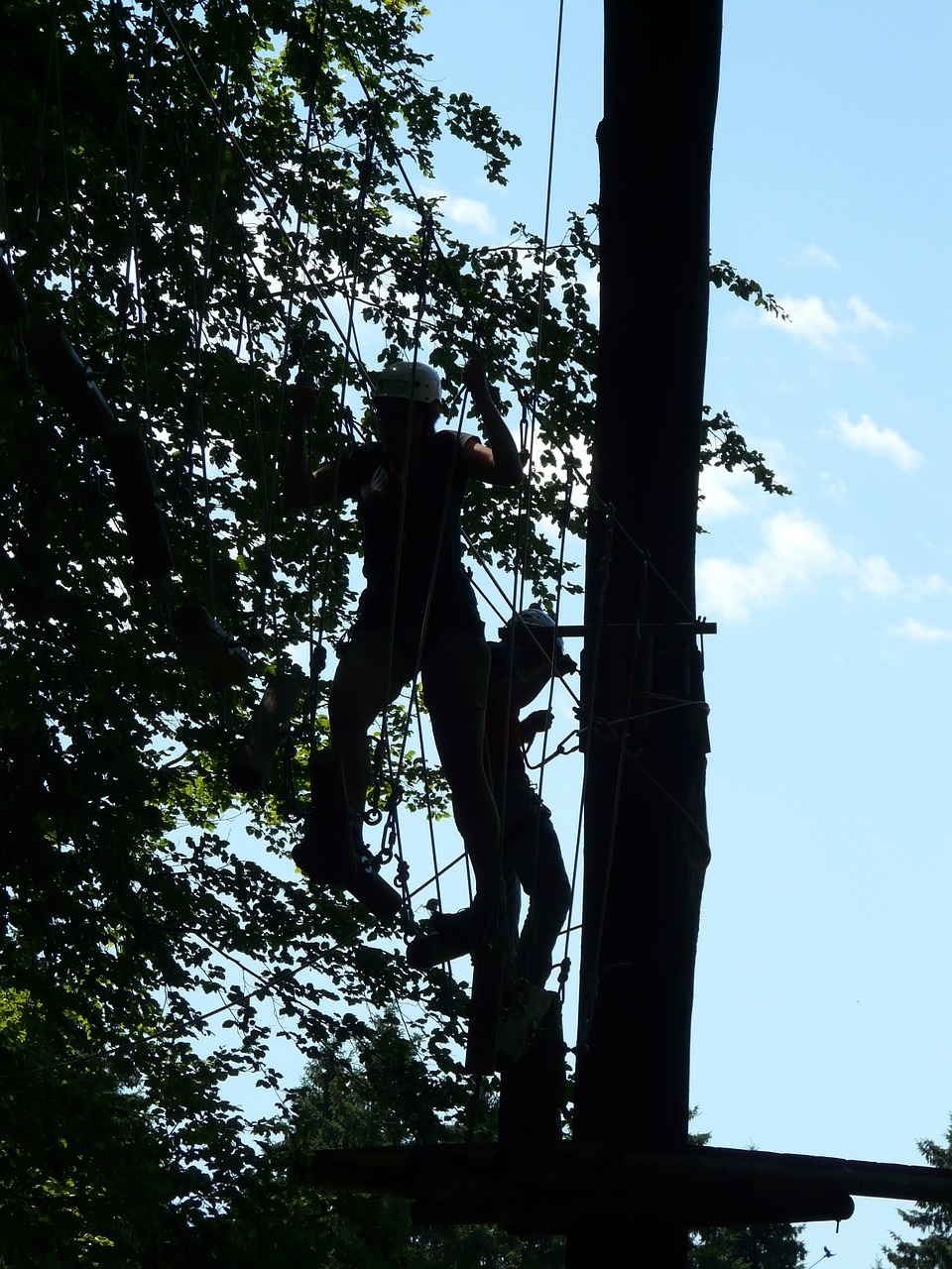high ropes course obstacle climb free photo