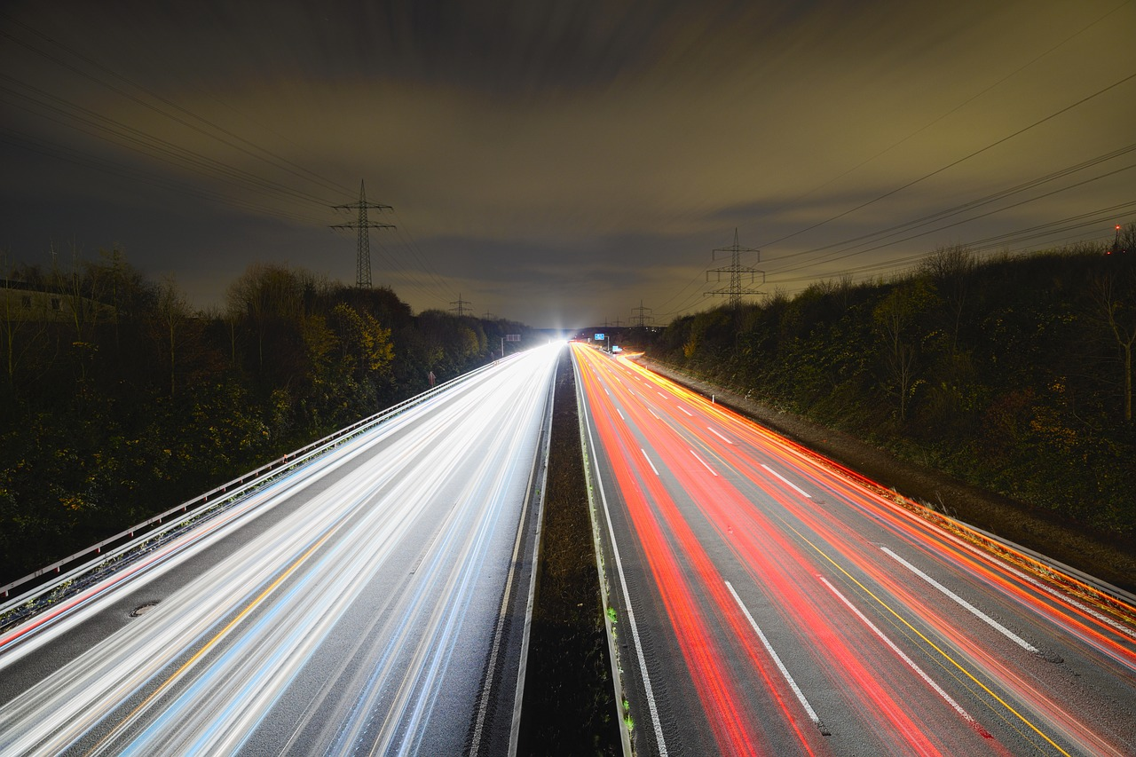 highway night long exposure free photo