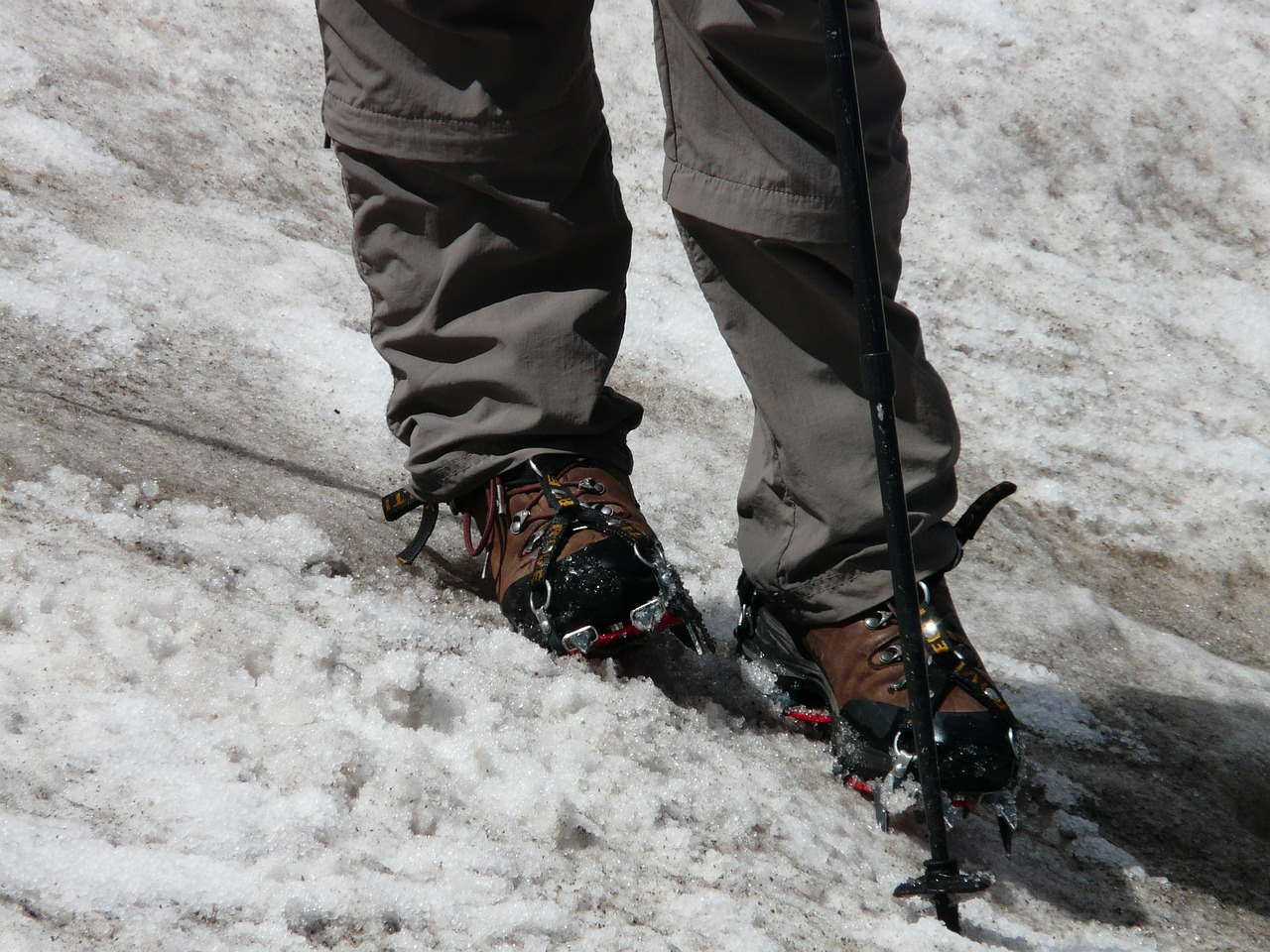 hiking shoes snow crampon free photo