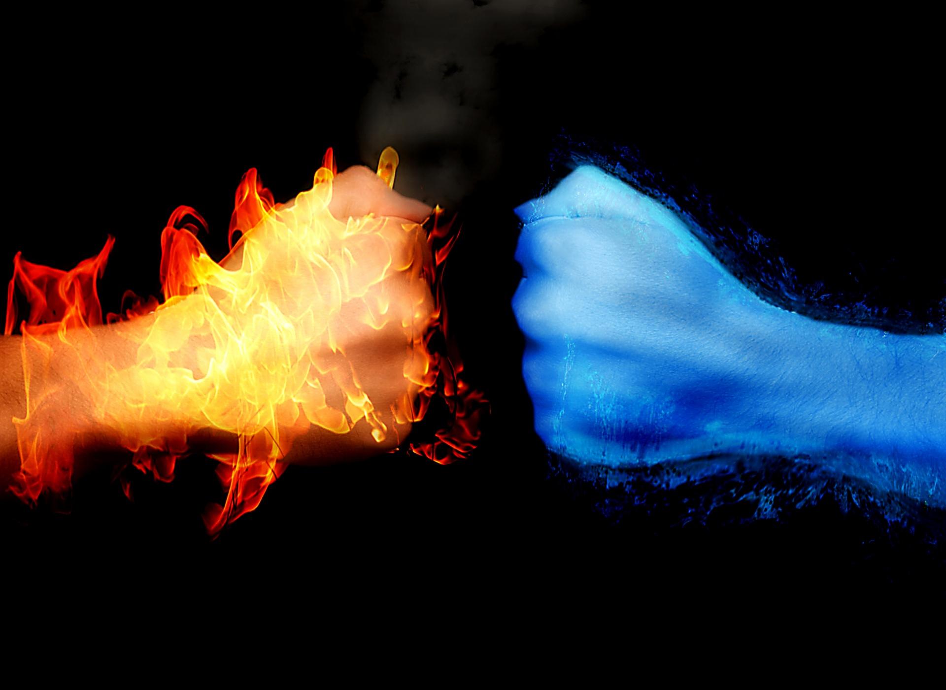 Fire,water,arm,fist,burning,dangerous,fireball,background Wallpaper