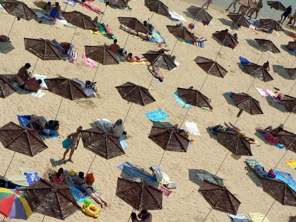 holiday beach parasols free photo