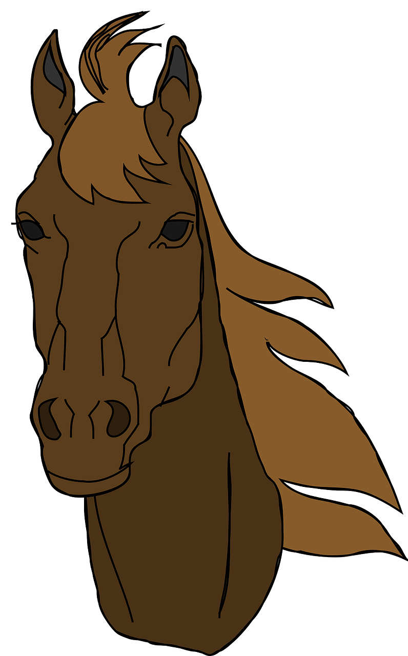 horse,head,face,animal,brown,mane,stallion,mare,domestic,pets,farm animals,horse portrait,wind blowing,cartoon,free vector graphics,free pictures, free photos, free images, royalty free, free illustrations, public domain