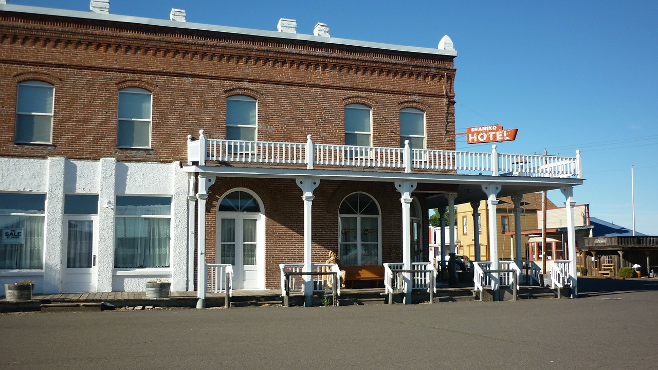 hotel exterior ghost town free photo