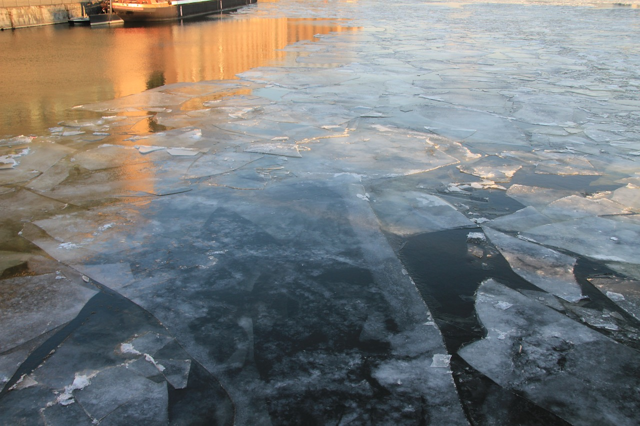ice floes winter frozen free photo