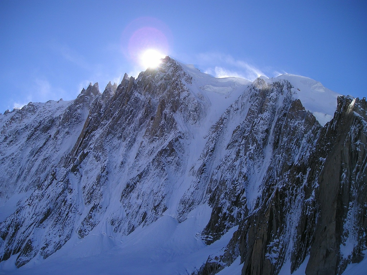 icy channel mont blanc du tacul chamonix free photo