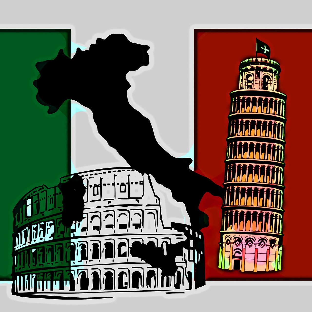 italy map flag free photo