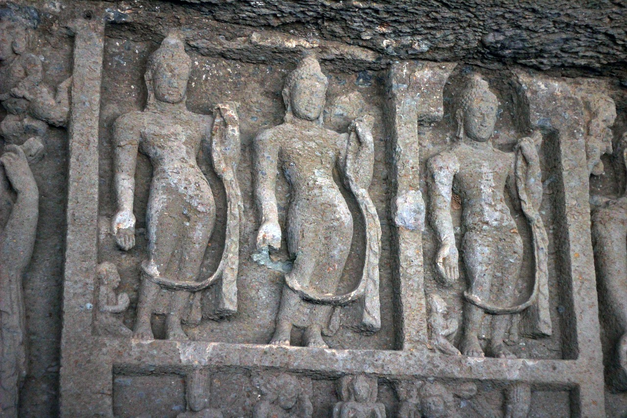 karla caves statues cave free photo
