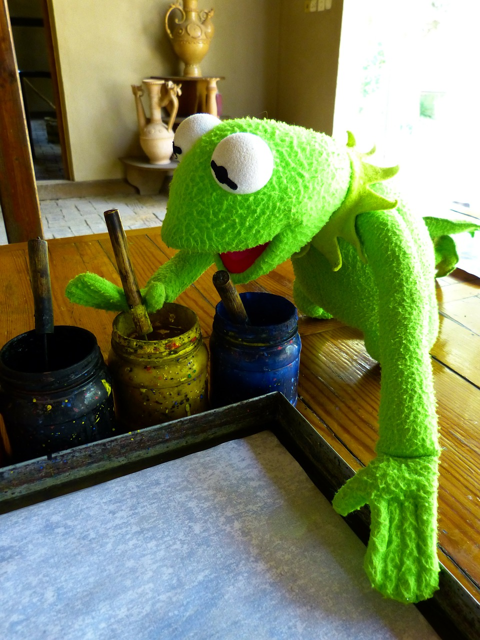 kermit frog painter free photo
