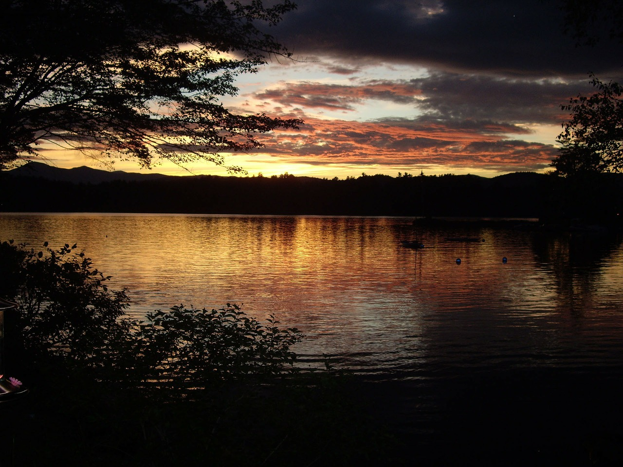 kezar lake sunset maine free photo