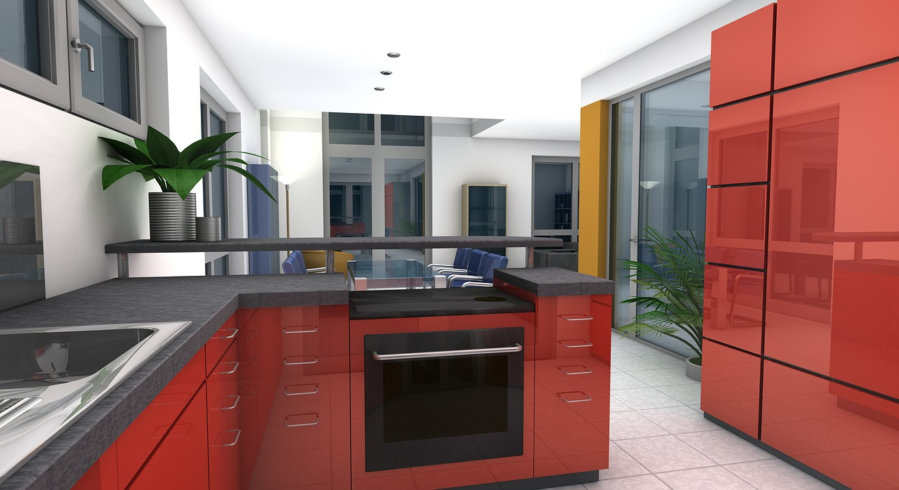 kitchen dining room rendering free photo