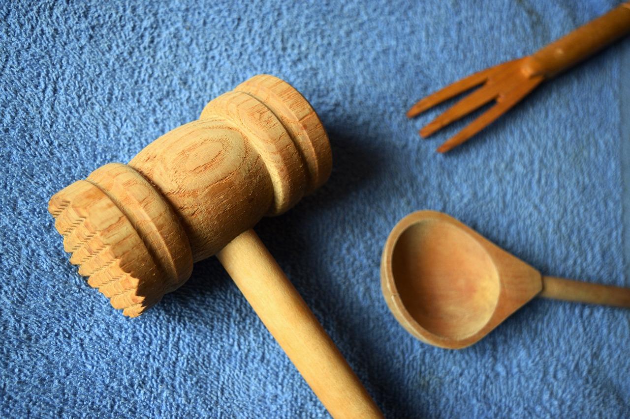 Kitchen Utensils Wooden Utensils Blue Cooking Spoon Free