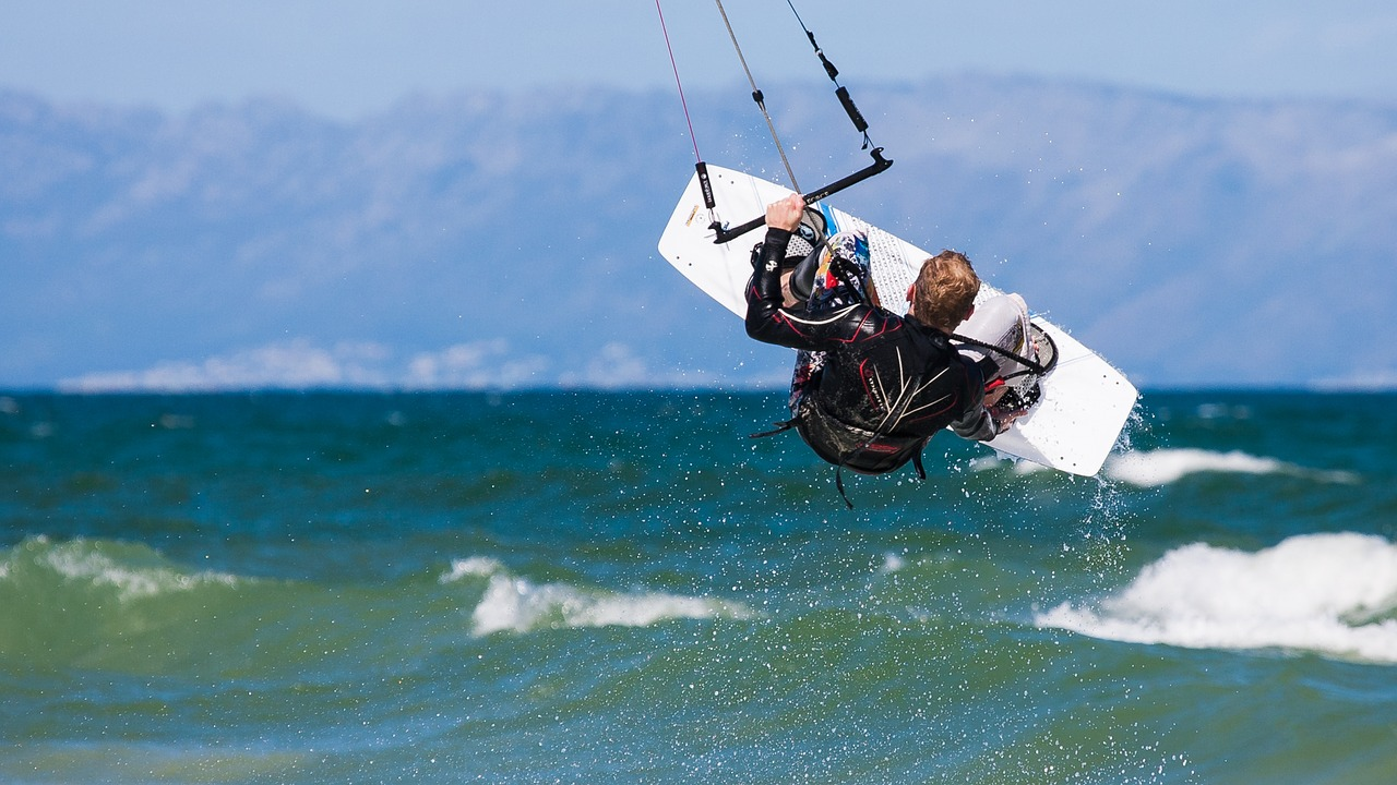 kite boarder wave jumping wallpaper desktop background free photo