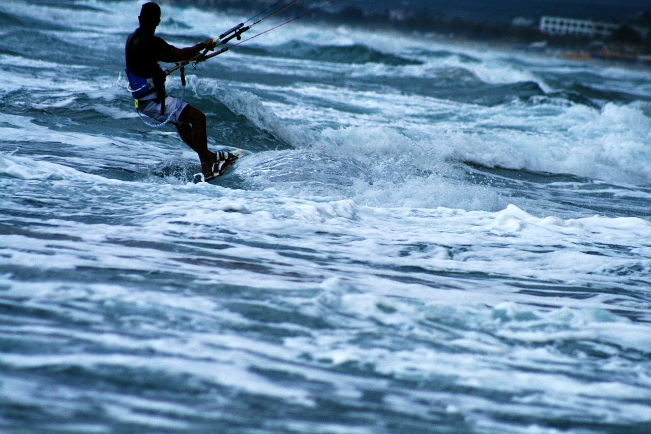 kitesurf boarding kite free photo