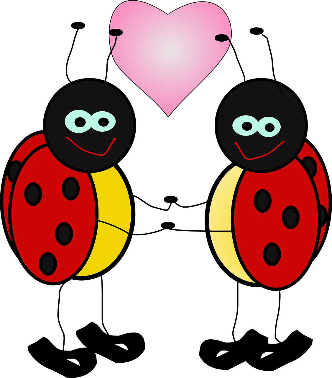 ladybugs,insect,lady,beetle,holding hands,heart,love,polka dolts,red,ladybird,summer,antenna,valentine,free vector graphics,free pictures, free photos, free images, royalty free, free illustrations, public domain