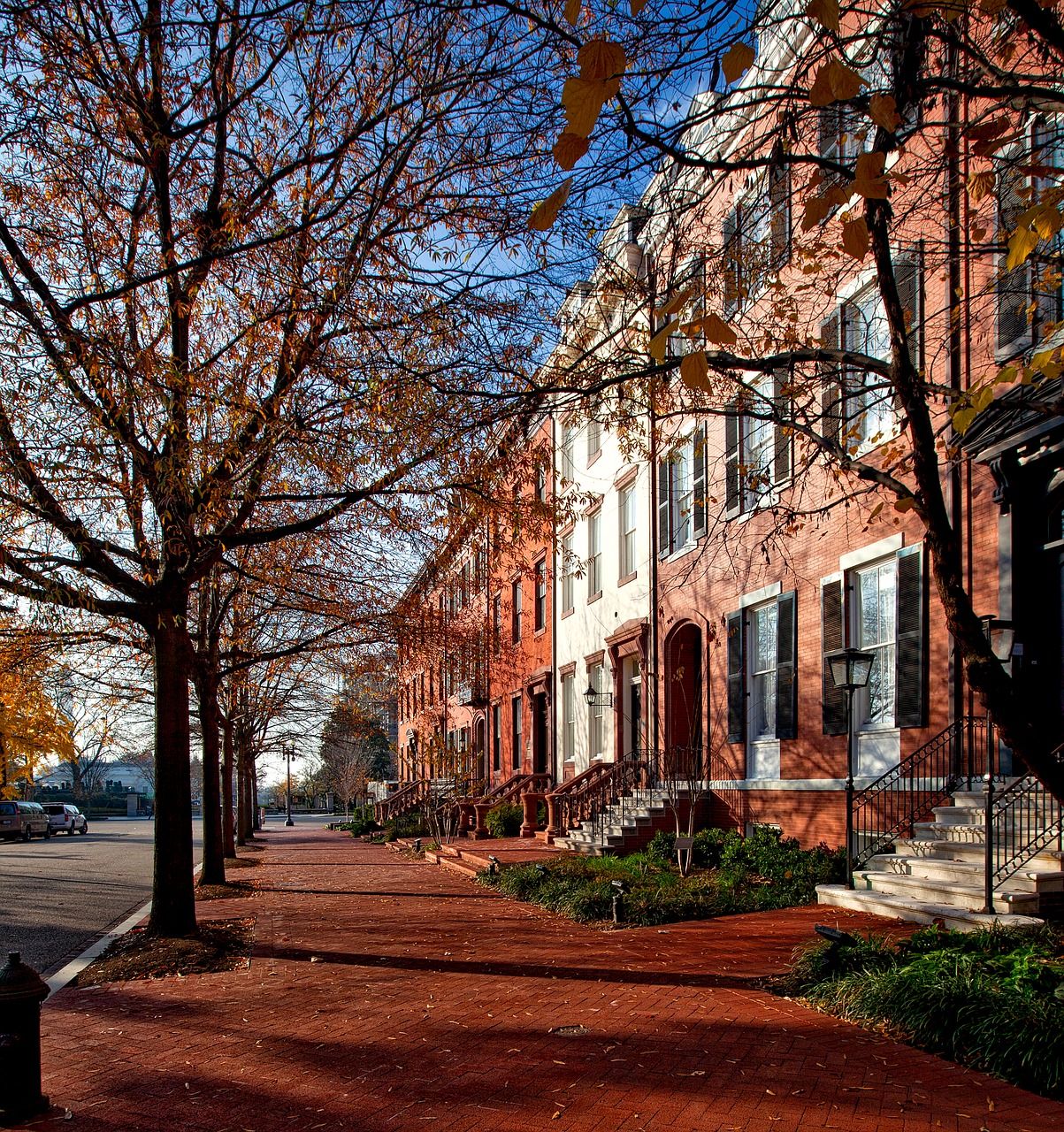 lafayette park,washington dc,c,architecture,historic,homes,houses,brownstones,row houses,pavement,sidewalk,upscale,landmarks,hdr,fall,autumn,trees,free pictures, free photos, free images, royalty free, free illustrations, public domain