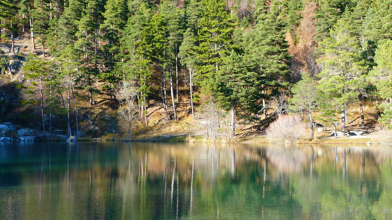 lake,landscape,nature,reflection,water,tree,fall,calm,mountain,hautes alpes,st joe lake,free pictures, free photos, free images, royalty free, free illustrations, public domain