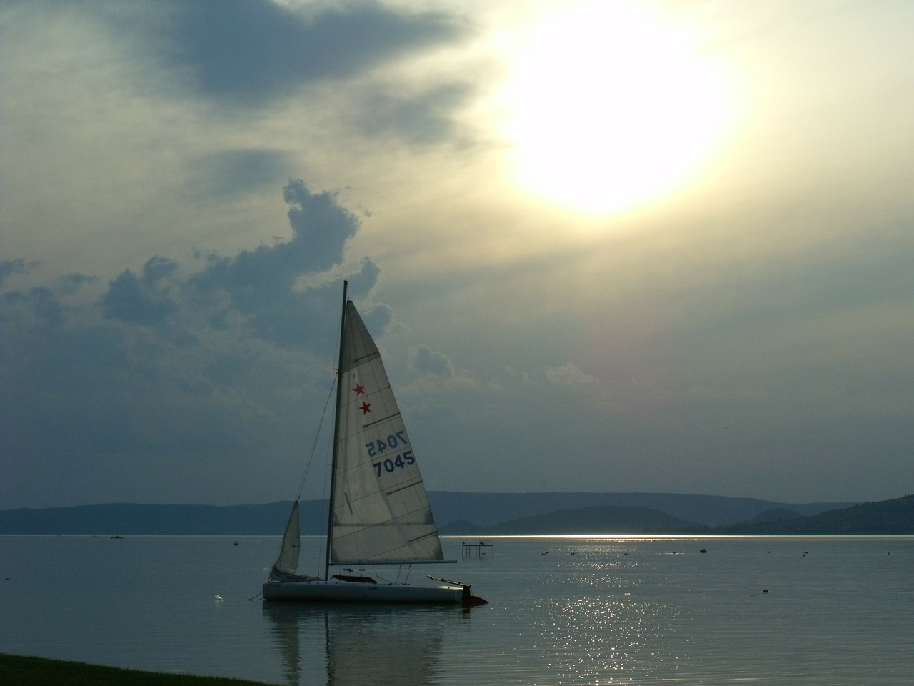 lake balaton sunset sailing free photo