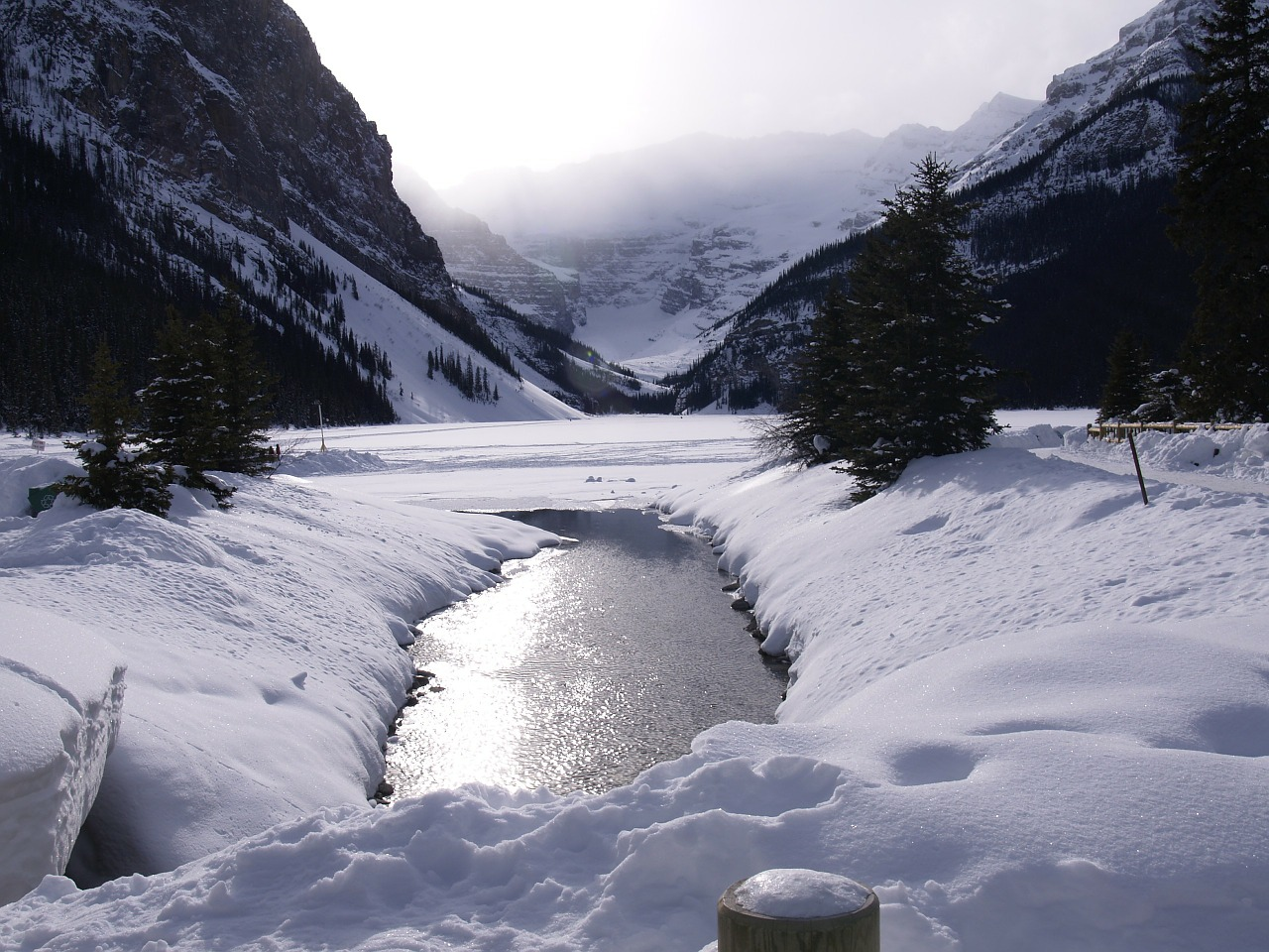 lake louise winter frozen lake free photo