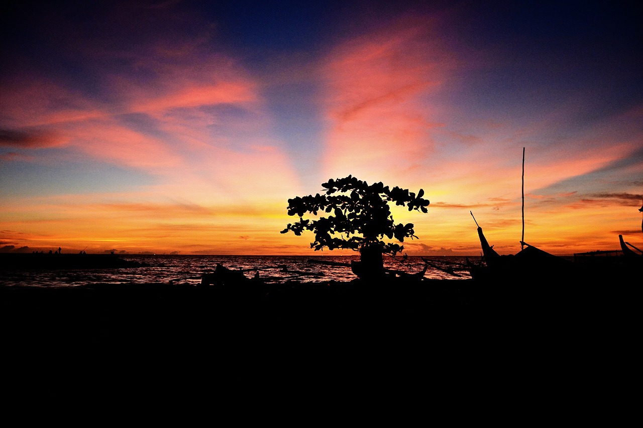landscape silhouette sunset free photo