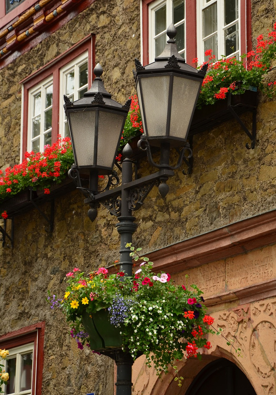 lantern street lamp floral decorations free photo