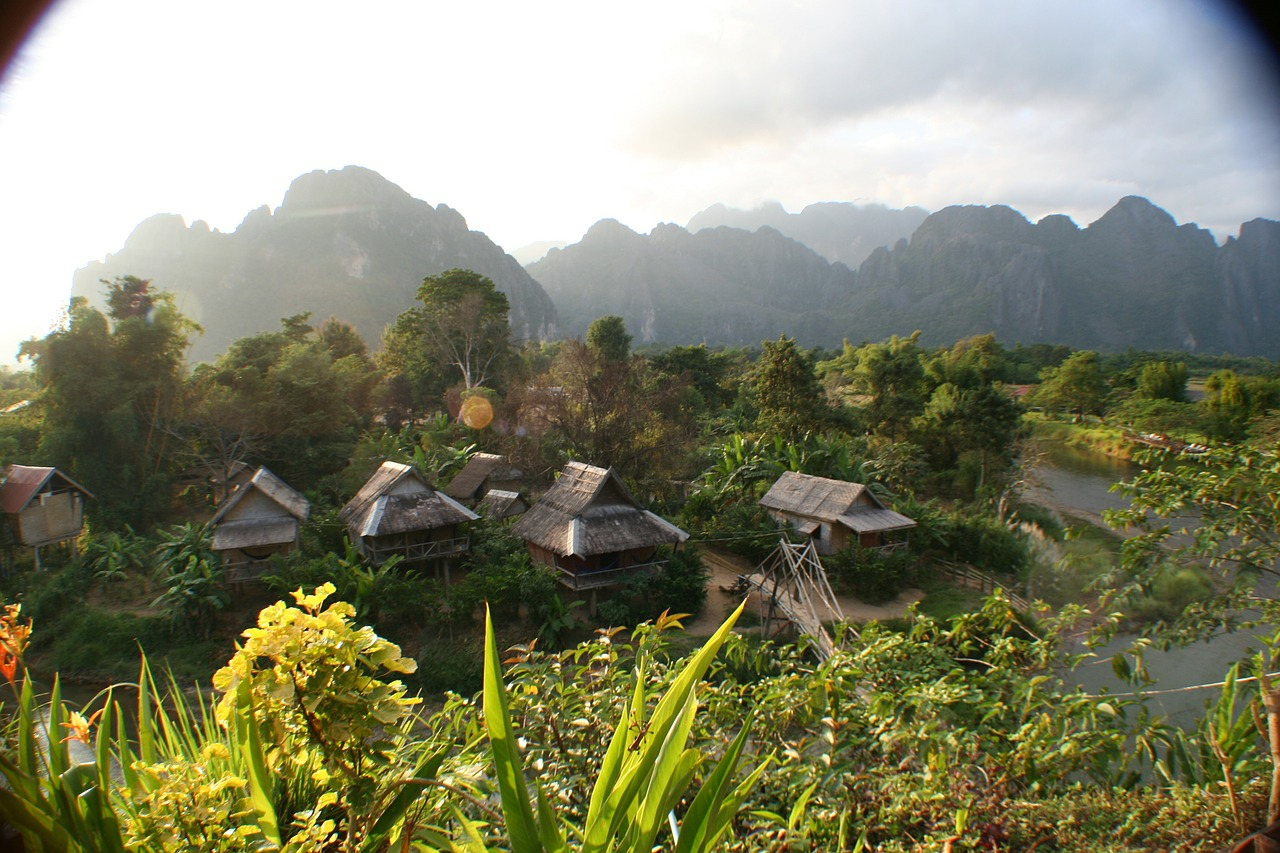laos huts asia free picture