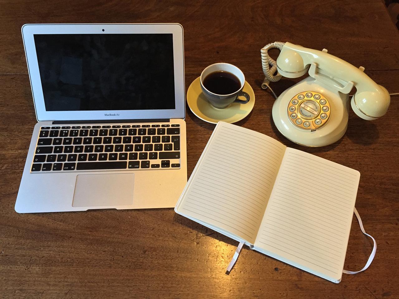 Laptop,old telephone,phone,vintage,notebook - free photo
