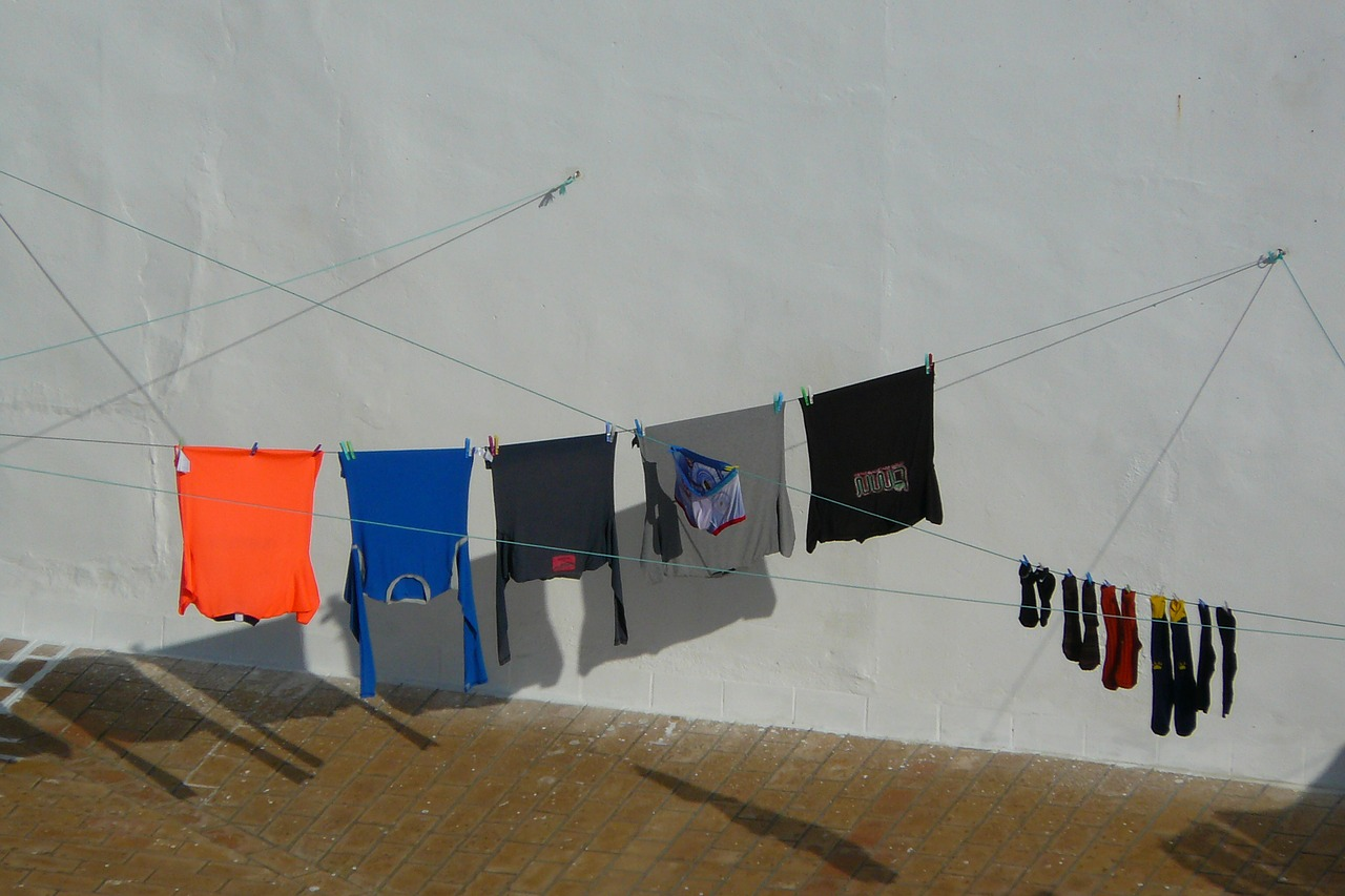 laundry colorful clothes line free photo