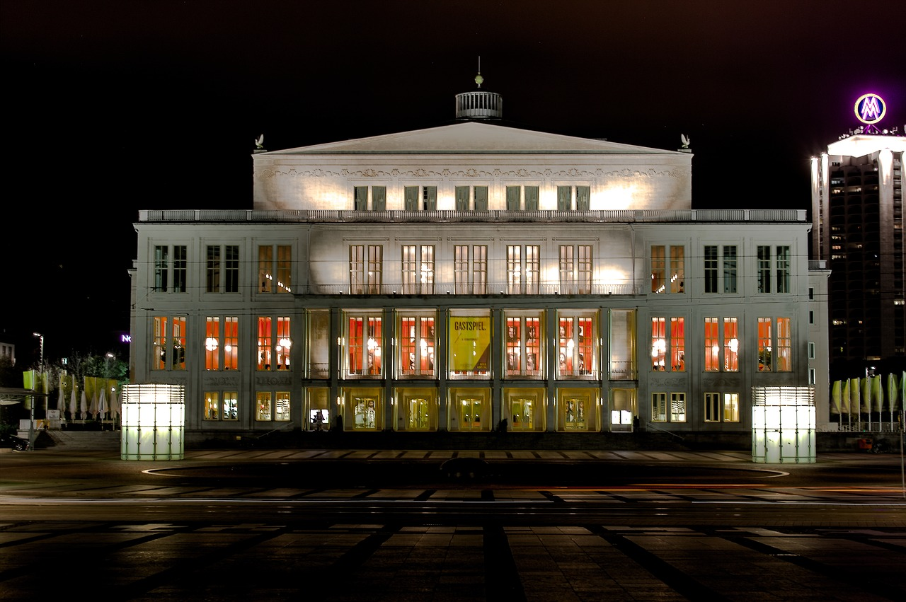 Leipzig Night Opera House City View Spotlight Free Image From Needpix Com