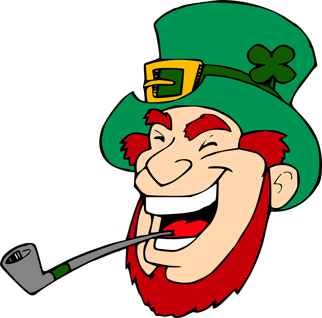 leprechaun,laughing,fairy,folklore,happy,face,head,green,irish,smoking,pipe,free vector graphics,free pictures, free photos, free images, royalty free, free illustrations, public domain