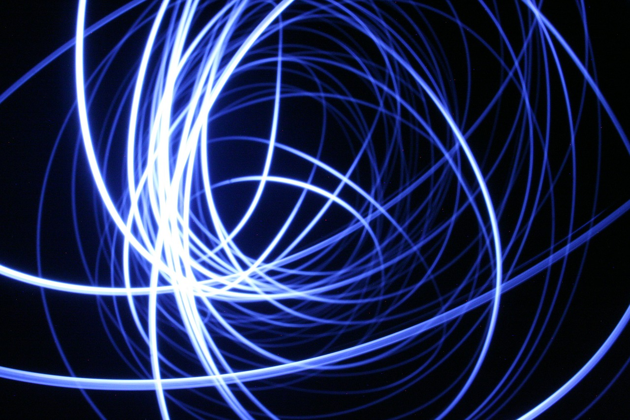 light drawing with light blue free photo