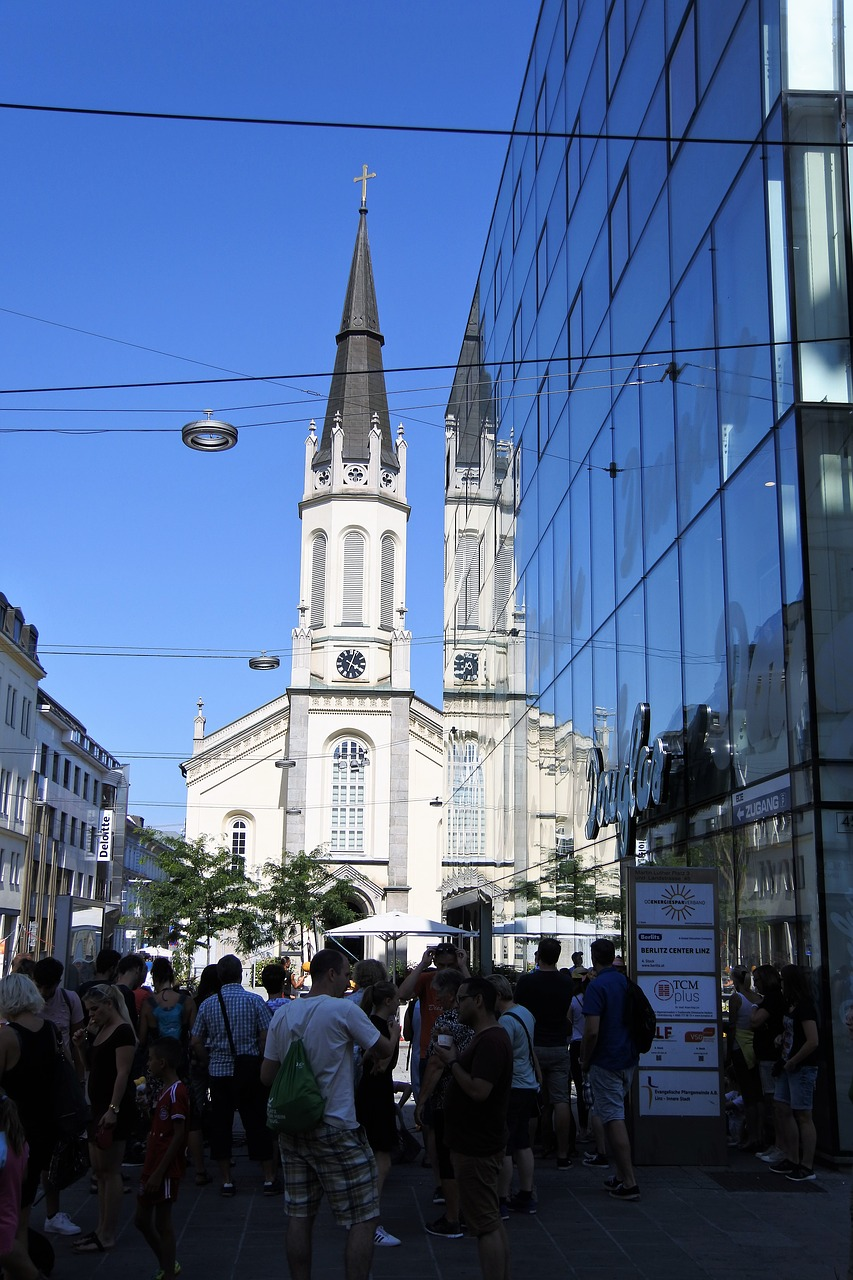 Linz,mirroring,church,architecture,tourists - free photo from