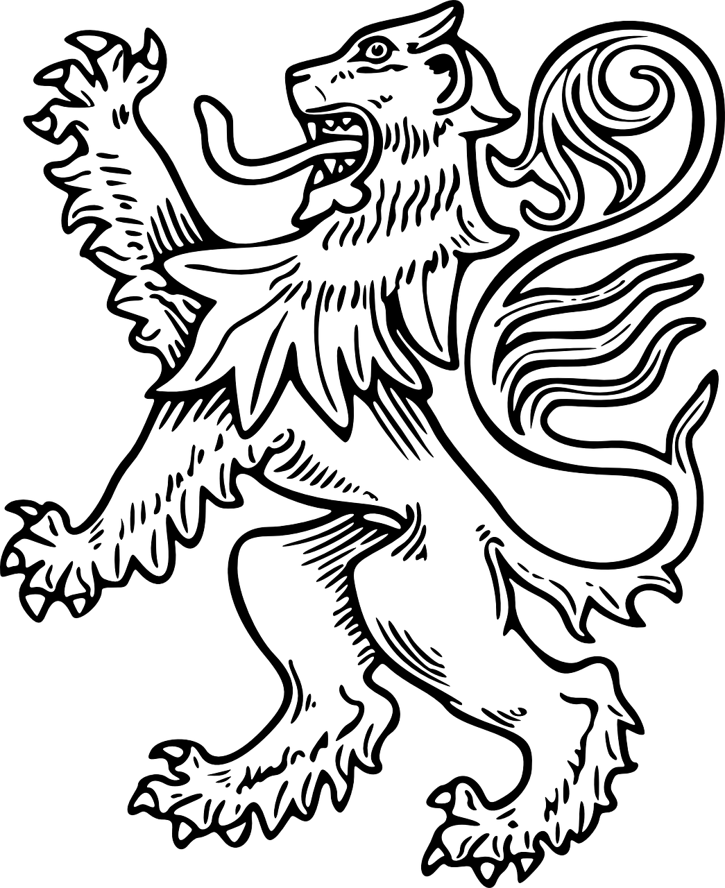 lion white rampant free photo