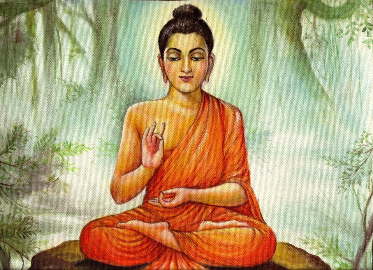 lord budha teaching pictures painting free photo