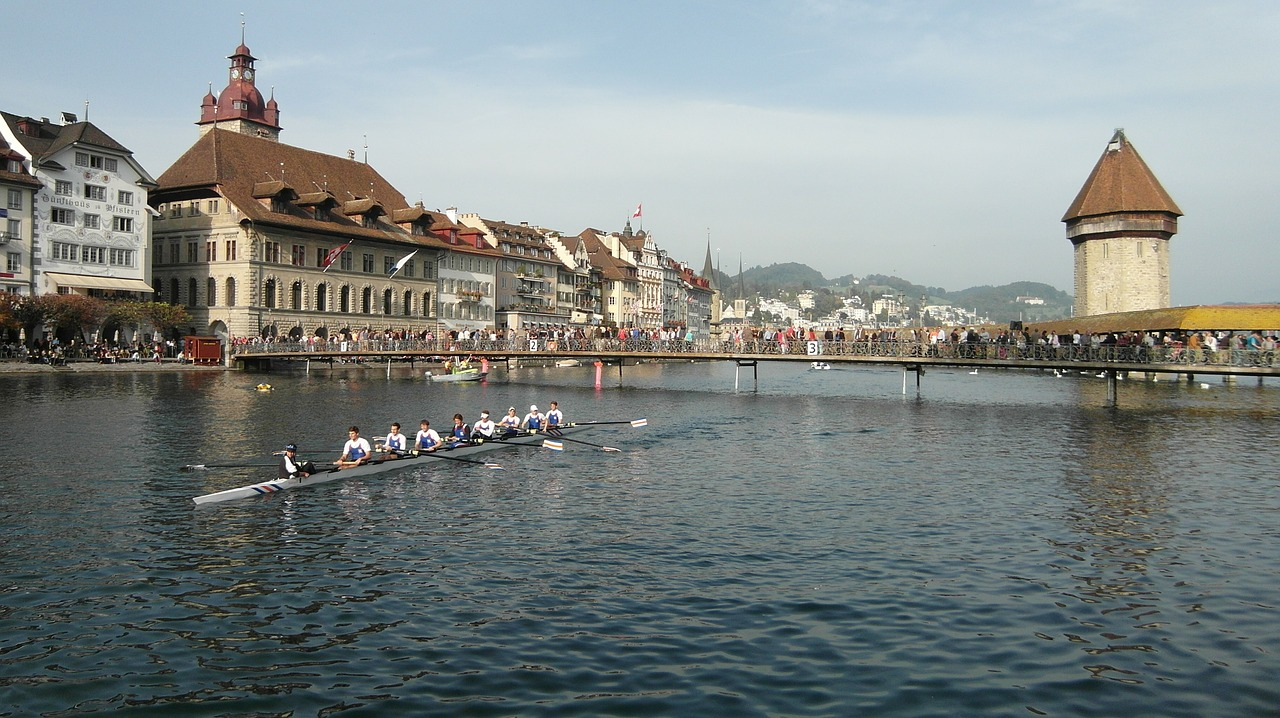 lucerne reuss sprint kappel bridge free photo