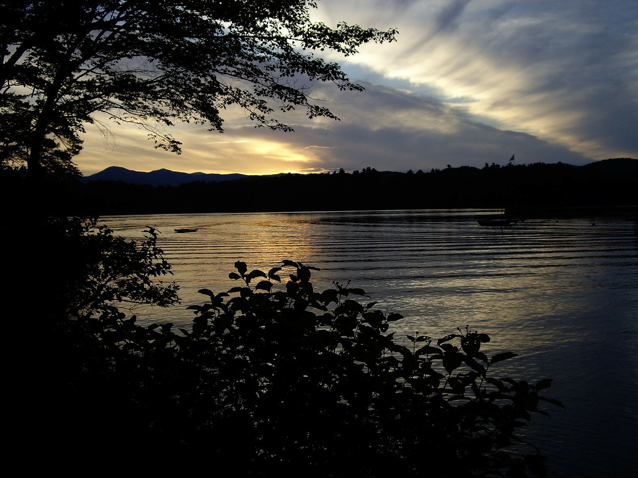 maine sunset lake free photo