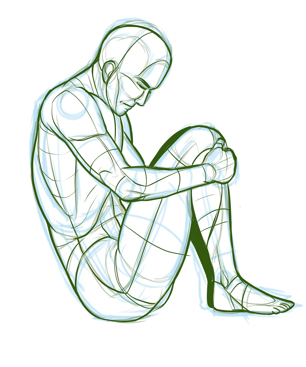 male person sad curled up drawing free photo from