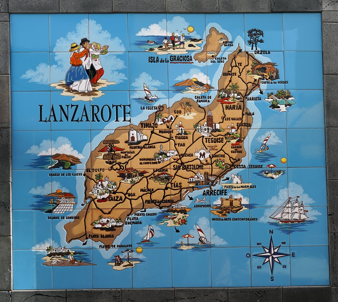 map lanzarote colorful free photo