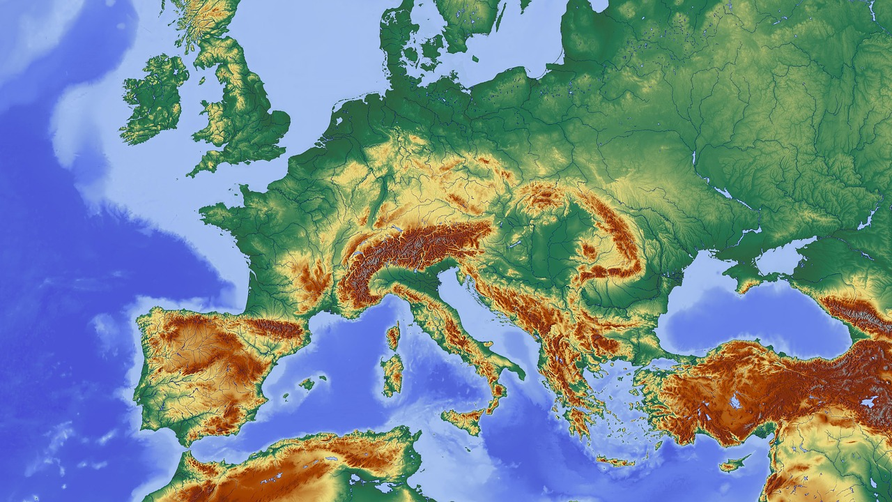 Elevation Map Of Germany.Map Central Europe Europe Relief Map Elevation Profile Free Photo