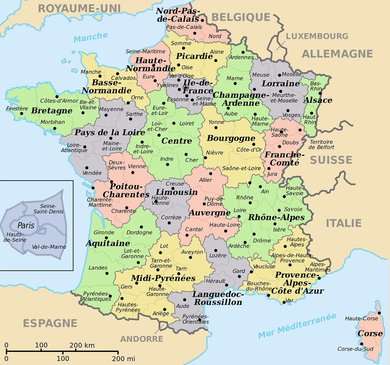 Map Of France With Neighbouring Countries.Map Of France Translated Into French Departments Prefectures