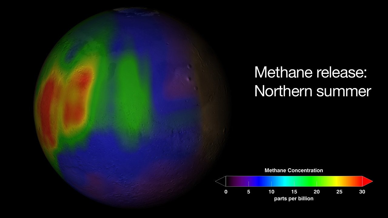 mars planet methane concentration free photo