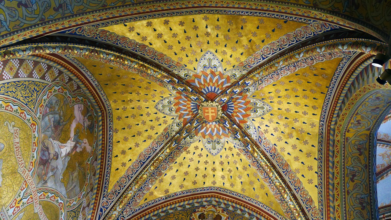 matthias church ceiling murals free photo