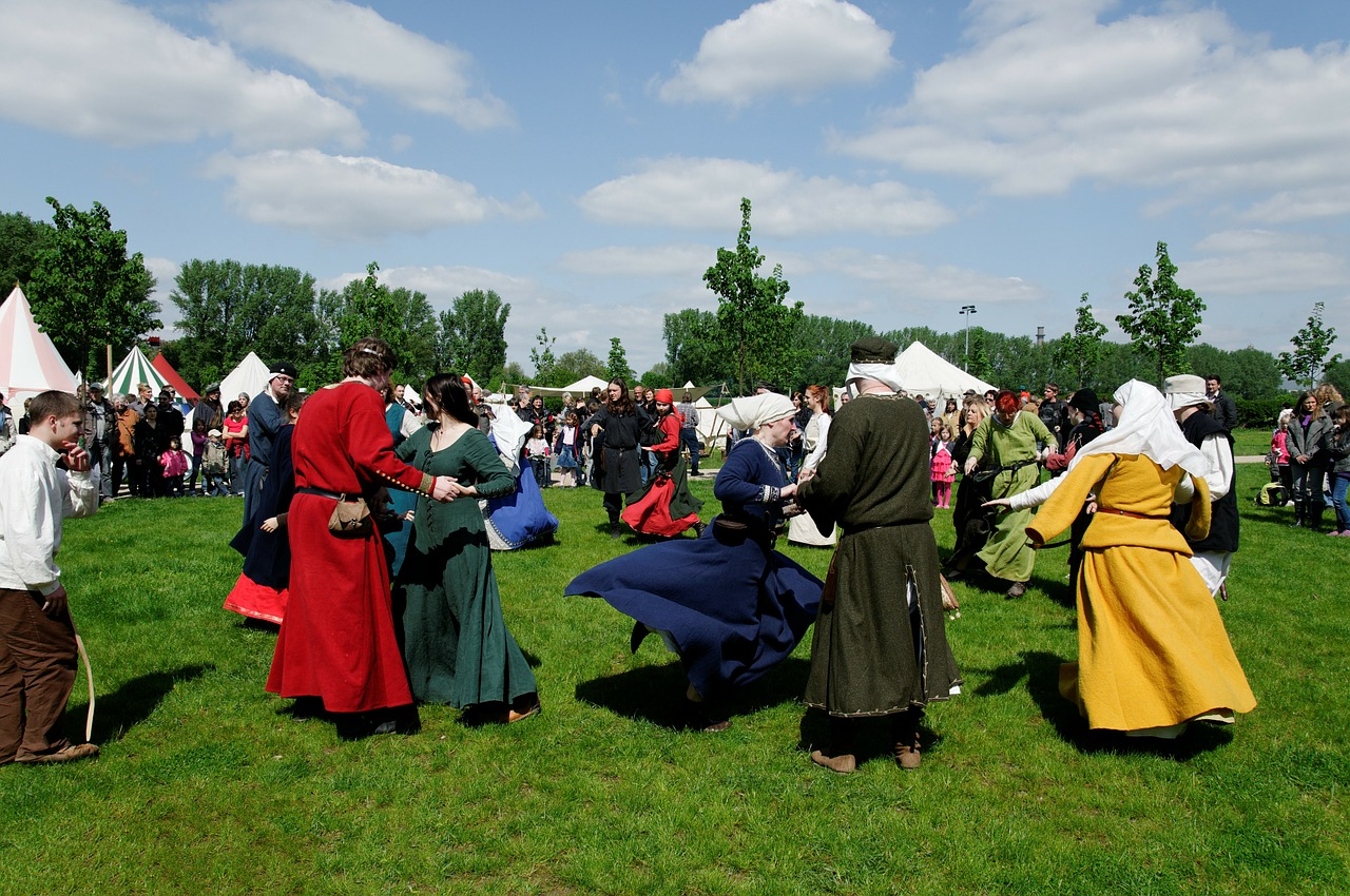 medieval market meadow dance free photo