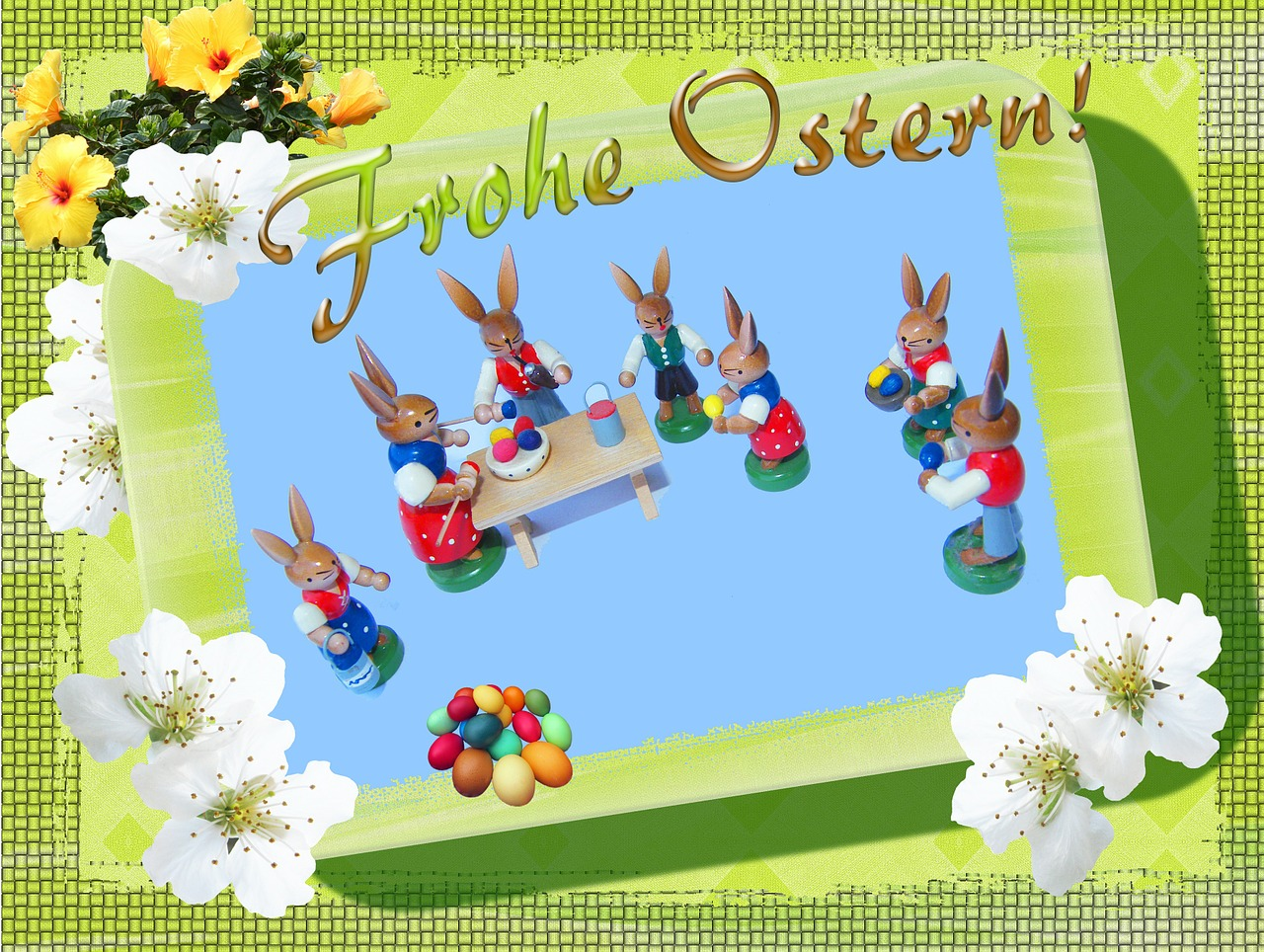 merry easter holzfigur free photo