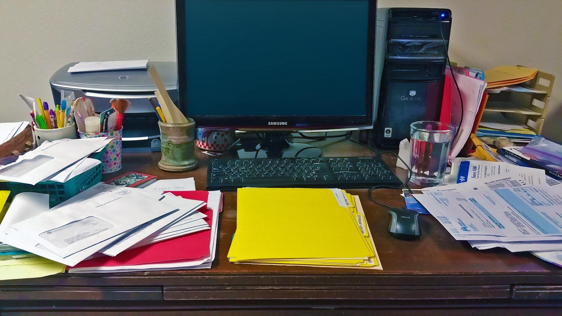 Image result for office desk paperwork